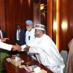 President Muhammadu Buhari in a handshake with Plateau State Governor, Mr Simon Lalong Others are Ogun State Governor Senator Ibikunle Amosu, Ondo State Governor, Chief Rotimi Akeredolu and others
