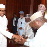 President Muhammadu Buhari in a handshake with Chairman of APC Governors' forum and Governor of Zamfara State, Alhaji Abdulaziz Yari and others