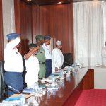 R-L; President Muhammadu Buhari, Minister of Defence, Brig Gen Mansur Dan Ali, Chief of Army, Lt General T.Y Buratai, Chief of Naval Staff, Vice Admiral Ibok Ekwe Ibas Chief of Air Staff, Air Marshal Sadique Abubakar and Inspector General of Police, IGP. Mr. Ibrahim Kpotun Idris