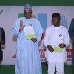 President Muhammadu Buhari, Vice President Yemi Osinbajo, SGF Boss Mustapha and APC National Chairman, Corande Adams Oshiomhole at the launch of Next level a scorecard of Buhari/Osinbajo