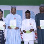 President Muhammadu Buhari, Wife, Aisha and Vice President Yemi Osinbajo and SGF Boss Mustapha at the launch of Next level a scorecard of Buhari/Osinbajo