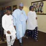 L-R; President Muhammadu Buhari with wife and  Vice President Yemi Osinbajo at the launch of Next level a scorecard of President Muhammadu Buhari/Osinbajo