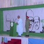 President Muhammadu Buhari addresses the guests at the launch of Next level a scorecard of Buhari/Osinbajo