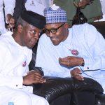 L-R; President Muhammadu Buhari confer with  Vice President Yemi Osinbajo at the launch of Next level a scorecard of President Muhammadu Buhari/Osinbajo