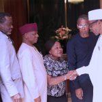 R-L; President Muhammadu Buhari, Chairman National Executive Council (NEC), Chief Ede Dafinone, Members Dame Marie Fatai-Williams, Rear Admiral A.O.S Okoja (Rtd), Mr Edo Abasi Ukpong and others