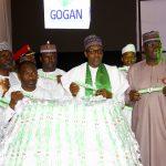 L-R; President Muhammadu Buhari (M) flanked by SGF, Mr. Boss Mustapha, Senator Kabiru Gaya, Chairman and National Co-ordinator Good Governance Ambassadors of Nigeria, Chief Felix Idiga, GOGAN South West Zonal Co-ordinator, Alhaja Olabisiso Eletu and others